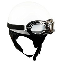 [HANMEE]Stylish Vintage Solid Scooter Motorcycle Goggles Half Helmet White Color L & Free Gift ...
