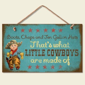New Sweet Little Cowboys Sign Wood Plaque Western Art Decor Boots Hats Picture by Highland Graphics