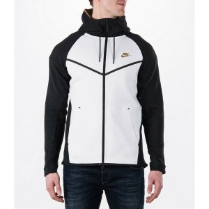 ナイキ メンズ ジャケット&ブルゾン アウター Men's Nike Tech Fleece Windrunner Full-Zip Hoodie White/Black