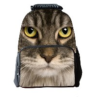Lawlait Kids Animal Face Print Cute School Backpack (grey cat)