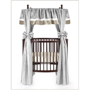 Baby Doll Bedding Crocodile Round Crib Curtain Set, Silver, 12 Piece by BabyDoll Bedding