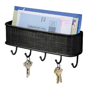 InterDesign Twillo Mail, Letter Holder, Key Rack Organizer for Entryway, Kitchen - Wall Mount, Matte Black by InterDesign