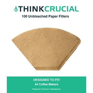 100Unbleachedナチュラルブラウン用紙# 4コーヒーフィルタ、Fitsすべてコーヒーメーカーwith # 4フィルタ、by Think Crucial