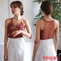 送料 0円★PPGIRL_A197 reversal lace knit sleeveless / knit top / sleeveless top / slim fit knit top