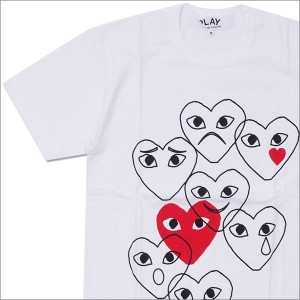 PLAY COMME des GARCONS (プレイ コムデギャルソン) Overlap FACES TEE (Tシャツ) WHITE 200-007515-040+【新品】