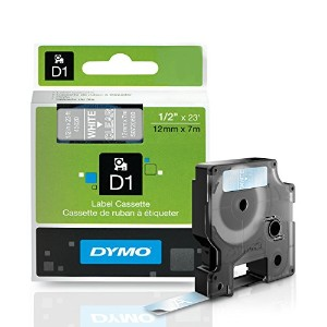 D1 Standard Tape Cartridge for Dymo Label Makers, 1/2in x 23ft, White on Clear (並行輸入品)