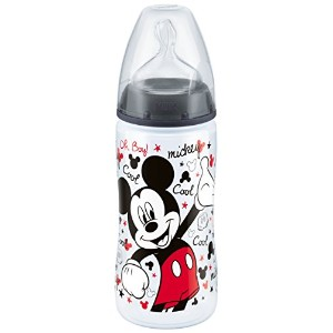 NUK First Choice Disney 300 ml Bottle with Silicone Teat (Black/Size 2)