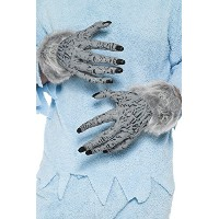 Smiffys Werewolf Hands Grey PVC with Fur