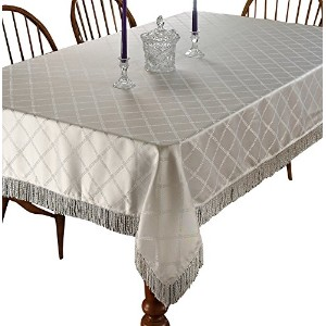 Diamond Damask Design Fringes Tablecloth White 60 by 102 Oblong / Rectangle by Violet Linen