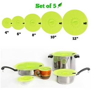 Non Toxic Premium Silicone Lid Covers for Pots Pans Bowls Cups - Set of 5 Sizes 12 10 8 6 4 -...