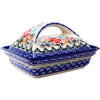 Polish Pottery Ceramika Boleslawiec, 0352/238, Butter Dish Deep, 2 Cubes, Royal Blue Patterns with...