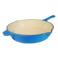 Le Chef Blue Enamel Cast Iron Deep Skillet 12-Inch. by Le Chef