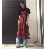LACE LONG C/A【スライ/SLY レディス その他(トップス) D/RED ルミネ LUMINE】