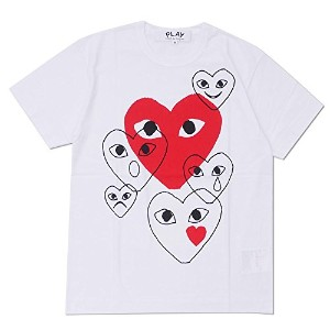 [Lサイズ] PLAY COMME des GARCONS (プレイ コムデギャルソン) RED HEART Overlap FACES TEE (Tシャツ) WHITE 200-007513...