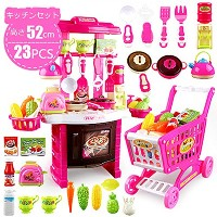 Votabell 子供 ままごと 玩具 キッチン 食器 カトラリー 食べ物 キッチンセット 知育玩具 ライト 音楽 おもちゃ カート付属 23点セット (ピンク)