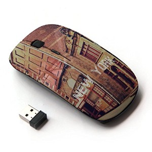 KOOLmouse [ ワイヤレスマウス 2.4Ghz 無線光学式マウス ] [ New York Text Street Buildings City Vintage ]