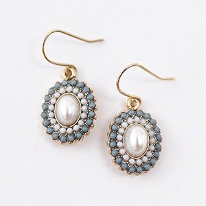 ma chere Cosette? オーバルパールフックピアス Vendome oval pearl pierced earrings ターコイズ&ホワイト