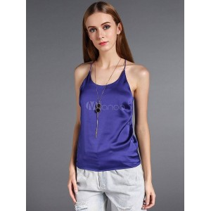Roral Blue Trendy Silk Camisole for Women