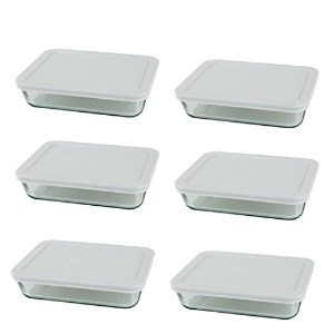 Pyrex 3-cup長方形ガラス食品ストレージセット 3 cup Containers (Pack of 6)