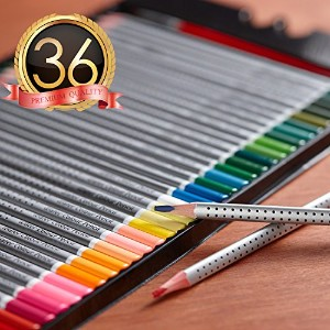 Heroセット水彩鉛筆のスケッチColoring Pagesとブック( Freeブラシ付属) 36-Pack-Color MU-CP-01-36