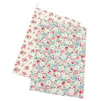 キャスキッドソン タオル CATH KIDSTON 663748 SET OF TWO TEA TOWELS DAISIES & ROSES LIGHT AQUA [並行輸入品]