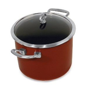 Chantal Copper Fusion 8-quart Stockpot with Glass Lid , Chiliレッドby Chantal