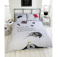 Duvet Day Teenagers Fun New Novelty Quilt Duvet Cover and Pillowcase Bedding Set, Polyester-Cotton,...