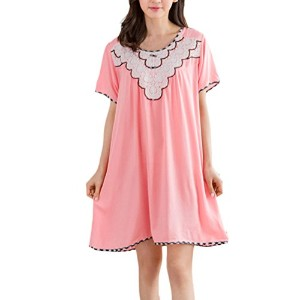 Zhhlaixing Women Summer Short Sleeve Loose Sleep Nightshirt Skirt Cotton Long Homewear Dress