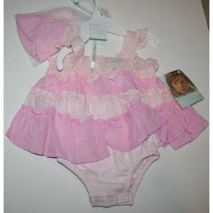 Vitamins Kids Baby Girl 2 Piece Set Dress & Hat Size: 3 Months Pink by Vitamins Baby