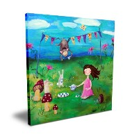 Cici Art Factory Brunette Girl Tea Party, 16x 16 by Cici Art Factory