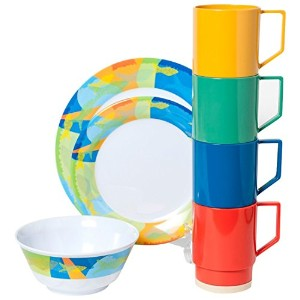 Galleyware Calypsoメラミン16 Piece Dinnerwareギフトセット