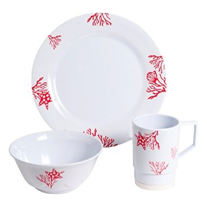 Galleyware 1091-s 12 Decoratedメラミン滑り止め12 Piece Dinnerwareギフトセット