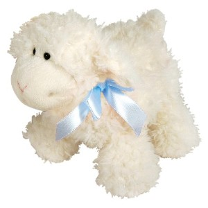 Stephan Baby Ultra Soft Sherpa Plush Dimple Lamb, Cream with Blue Bow by Stephan Baby