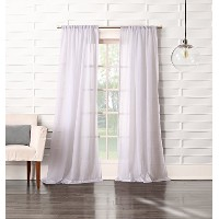 No. 918 Tayla Crinkled Sheer Rod Pocket Curtain Panel, 50 x 95 Inch, White by No. 918