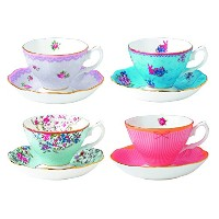 Royal Albert Candy Teacups and Saucers, (Set of 4), Mixed Patterns by Royal Albert