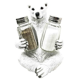 Circumpolar北Arctic Ice Polar Bear Salt Pepper Shakerホルダー置物スタンド