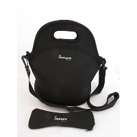 BONUS CUTLERY SET! Large Classic Black Neoprene lunch bag. Reusable washable tote, great for school...