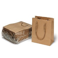 Brown Paper Kraft Bags with Handles for Gifts, Arts & Crafts, Retail - 24 Count 5.5x4x2 by Straight...