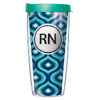 RNエンブレムonピンクRoundabout Tumbler Cup with Clear Lid 16 Oz ブルー