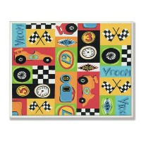 The Kids Room by Stupell Race Car Collage Rectangle Wall plaque by The Kids Room by Stupell
