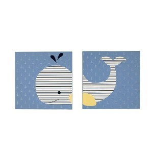 Nautica Kids Brody Nursery Bedding Collection (2-Piece Canvas Art - Whale Print) by Crown Crafts