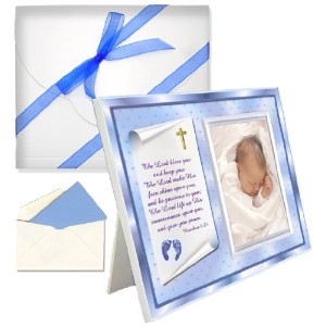 Baptism Christening Gifts Baby Blessing Picture Frame -- Numbers 6:24-26 - Boy by Expressly Yours!...