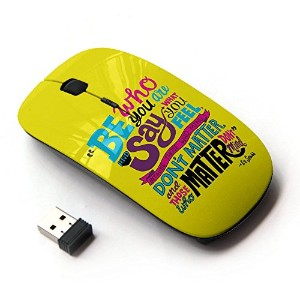 KOOLmouse [ ワイヤレスマウス 2.4Ghz 無線光学式マウス ] [ Funky Text Yellow Teal Be Inspiring Message ]
