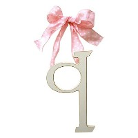 New Arrivals Wooden Letter Q with Pink Polka Dot Ribbon, Cream by New Arrivals