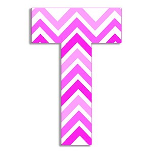 The Kids Room by Stupell Tri-Pink Chevron Hanging Wall Initial, T, 18 by The Kids Room by Stupell