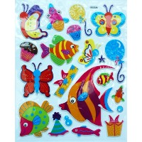 Jazzstick Fish & Butterfly Adhesive Foam Kids Room/Nursery Decorative Wall Sticker A4 size Decal ...