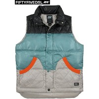 【SALE】30%OFF★55DSL(FIFTY FIVE DSL) フィフティファイブ ディーエスエル JUMPVEST JACKET シャイニーナイロン、ダウンベ...