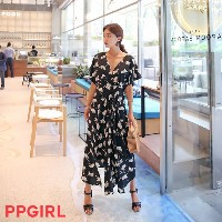 送料 0円★PPGIRL_A194 Poly unbalance dress / long dress / maxi dress / flare dress /