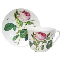 Roy Kirkham Redoute Rose Chatsworth Cup & Saucer in Fine Bone China by Roy Kirkham