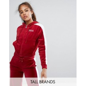 fila tall velour zip up hoody with racer stripe detail ストライプ フーディー ベロア パーカー フィラ
